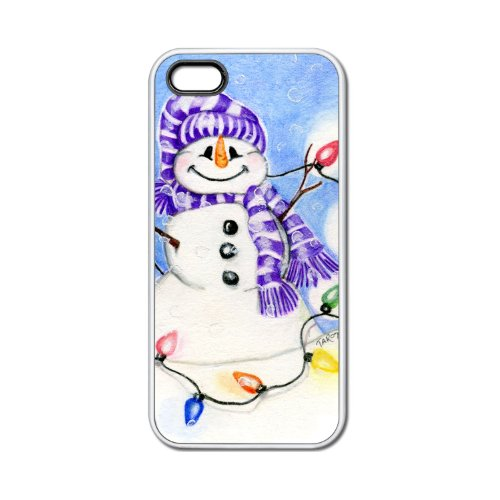 All Lit Up Snowman Apple iPhone 5 White Rubber Grip Case with Original Christmas Holiday Art by Tracey