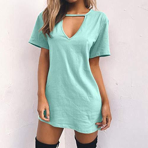 Hueco Para Seworld B Mujer En Con Verano Cuello Blusa Mini Vestido Informal Camiseta Fiesta V Verde Largas Tops vr5qfv