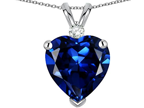 (Star K 8mm Heart Shape Created Sapphire Heart Pendant Necklace 14 kt White Gold)