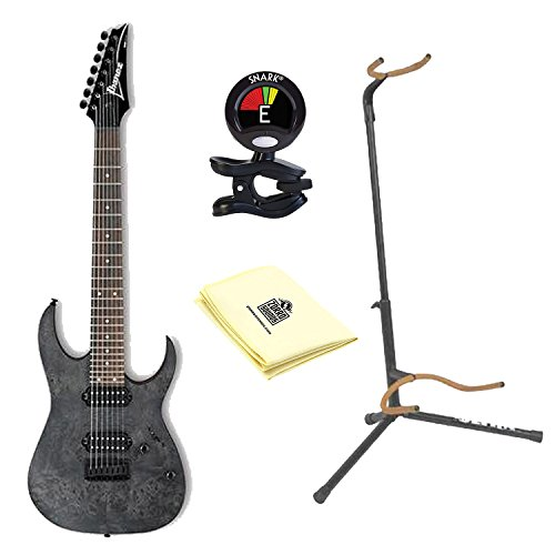 Ibanez RG Series RG7421PB 7-String Electric Guitar in Transparent Gray Finish with Ultra 2445BK Basic Guitar Stand, Snark SN5X Clip-On Tuner and Custom Designed Instrument Cloth Ultra 2445bk Guitar Stand