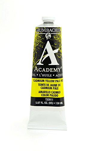 Grumbacher Academy Oil Paint, 150 ml/5.07 oz, Cadmium Yellow Pale Hue (Oil Colors Cadmium Yellow Pale)