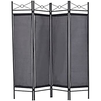 Giantex 4 Panel Room Divider Privacy Screen Home Office Fabric Metal Frame Black