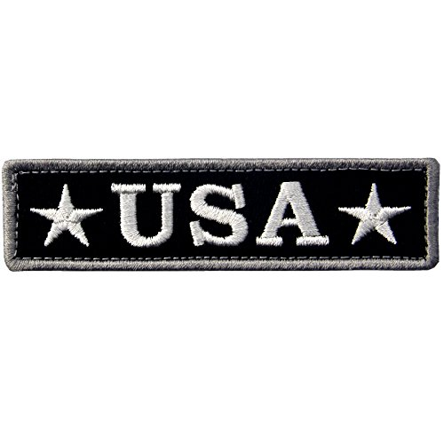 EmbTao Embroidered USA Tactical Morale Fastener Hook&Loop Patch - Black & White