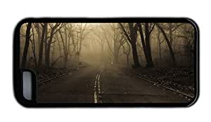 Hipster cool iPhone 5C case road forest mist TPU Black for Apple iPhone 5C