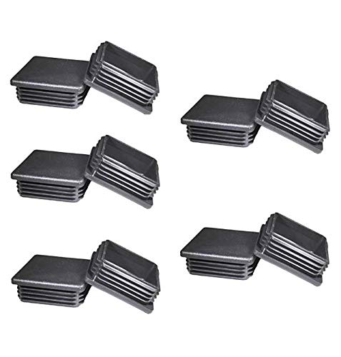 (10 Pcs 2'' Square Tubing Black Plastic Plugs - 2 inch End Cap - Fence Post Pipe Cover Tube Chair Glide Insert Finishing Plug)