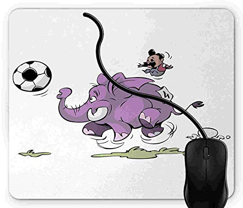 Mouse Pad Gaming Elephant, Elephant Playing Soccer with a Kid Mario Moustache Sports Decor Football Print, 9.25 x 7.75 inch Non-Slip Rubber -