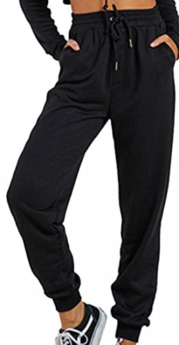 wstring Elastic Waist Cuffed Regular Snowflake Sweatpants Black L (Personalized Sweatpants)