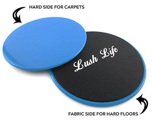 LushLife Exercise Sliders Set of 2 Discs Core Exercise Workout Ab Fitness Low Impact Cardio Strength Training by LushLife