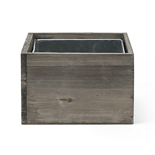 CYS EXCEL Planter Box, Wood Planter, Wood Rectangle Window Box, Wood Planters with Removable Zinc Liner - 8 sizes available - (1, H:4