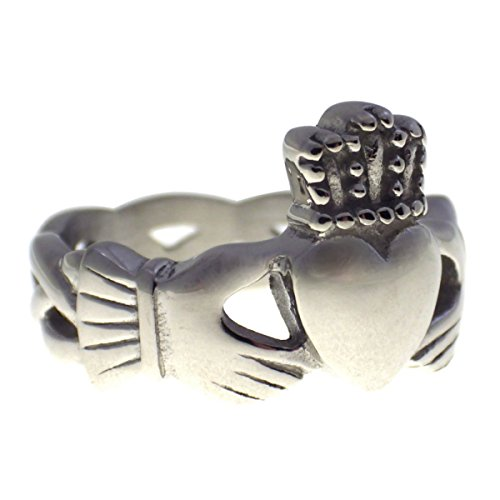 Large Claddagh Ring Celtic Knot 316L Surgical Stainless Steel Band Size 11 (Large Claddagh Ring)