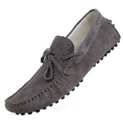 Happyshop (tm) Mocassini Uomo In Pelle Scamosciata Mocassino Casual Mocassini Con Nappe Slip-on Driving Shoes Grigio