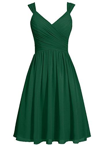 Bretelles Cdress Arc Écharpe Robes De Bal De Tri De Mousseline Robes De Demoiselle D'honneur De Dark_green