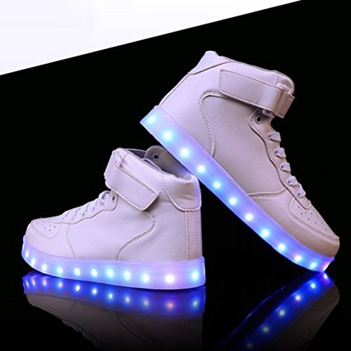 [Presente:pequeña toalla]JUNGLEST® Unisex 7 Colors USB Carga LED Luz Luminosas Flashing Sneakers Altotop Zapatos Zapatillas de Depo c40