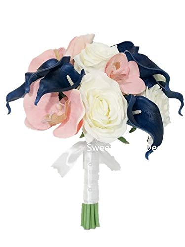 Sweet Home Deco Silk Phanaenopsis Orchid Rose Calla Lily Mixed Wedding Bridal Bridesmaid Bouquet Boutonniere Blush Pink/Navy Blue/White (Pink/Blue/White-6''W Round Bouquet) (White Orchid Boutonniere)
