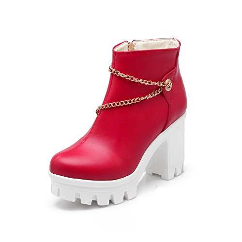 High Toe Boots Heels Solid AgooLar Red PU Round Closed Zipper Women's q6wOZxOPH