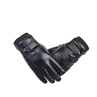 WinCret Men's Touchscreen Leather Gloves Winter Driving Gloves with Warm Coral Velvet Lining