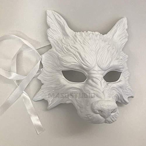MasqStudio White Wolf Mask Animal Masquerade Halloween Costume Cosplay Party mask -