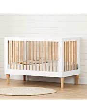 Balka 3 in 1 Convertible Crib-Pure White and Exotic Light Wood-South Shore