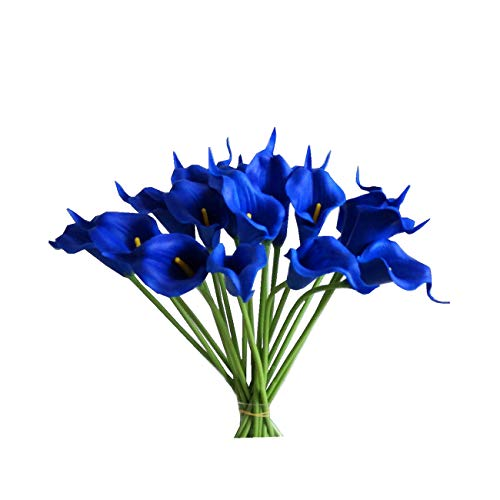 Mandys 20pcs Navy Blue Artificial Calla Lily Silk Flowers 13.4 for Home Kitchen & Wedding (vase not Include)