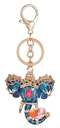 Giftale Blue Elephant Keychain for Women Cute Bag Charms Crystal Rhinestone Pendant Car Key Ring