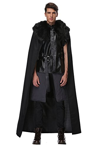 Knights Watch Cosplay Halloween Party Costume for Kids Full Outfit with Fur Cloak, Black, (Jon Snow Cape Costume)