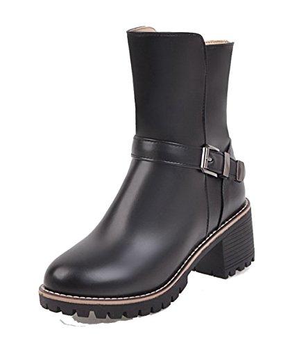 Medio Negro Grueso PU Cremallera Mujer Boots Tacón AgeeMi Cerrada Shoes Puntera Tacón xYz0wwPq