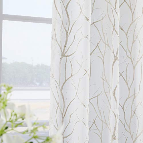 Twin Six Embroidered Curtains Branch Design Faux Linen Drapes Rod Pocket with 7 Back Loops for Bedroom/Living Room, 1 Panel, 52 x 84 Inches,Ivory White/Tan Embroidery ()