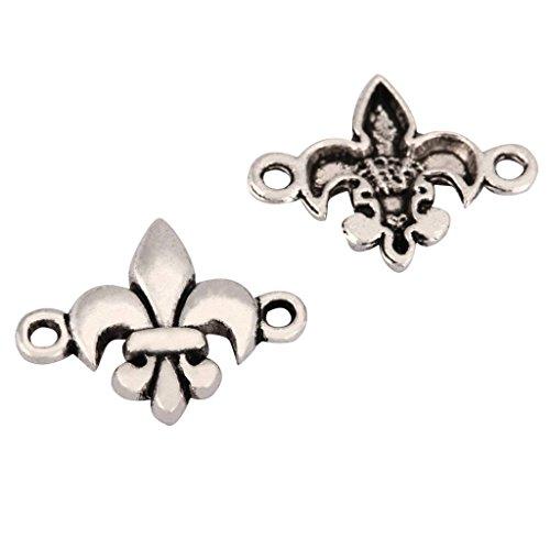 20 x Fleur De Lis Lily Charms 20x15mm Antique Silver Tone for Bracelets Necklaces Earrings #mcz1185