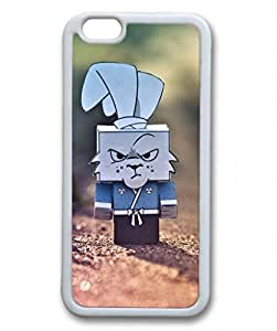 E-luckiycase TPU Supple Shell Cute Grumpy Cardboard Rabbit White Skin Edges for Iphone 6 Case