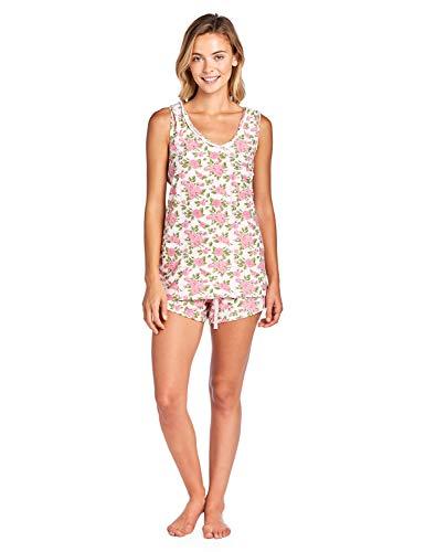 (Casual Nights Women's Floral Sleeveless Tank and Pajama Shorts Set - Pink - 3X)