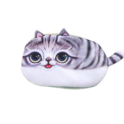Weite 3D Print School Cat Face Pencil Case Storage Bag Coin Purse Cosmetic Pouch Best Gift for Kids (C)