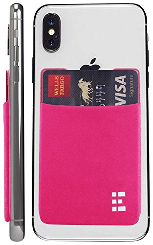 Cell Phone Credit Card Holder Stick On Wallet Case w/RFID Blocking (Fuchsia)