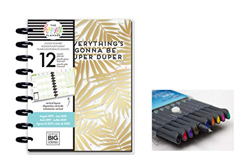 me & My Big Ideas Create 365 The Happy Planner, Classic Student Edition: Super Duper 12 Month Planner, Aug 2019 - July 2020 Comes with Kemah Craft 10 Pc Fineliner Colored Pens (PLNY-117) -