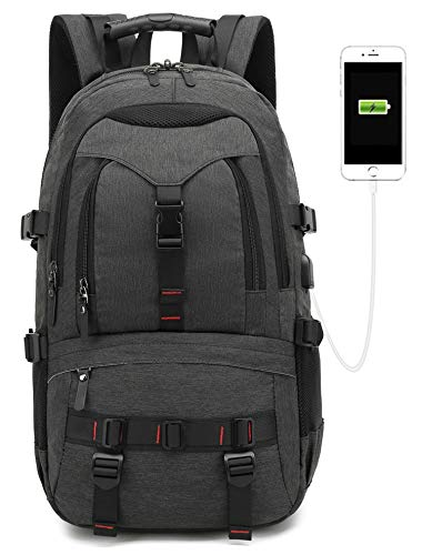 MUMAIS 2019 New Model Travel Laptop Backpack 17 inch,Business Anti Theft Slim Durable Laptops Backpack with USB Charging Port,College School Computer Bag for Men Fits,Cool Backpack (Dark Grey)
