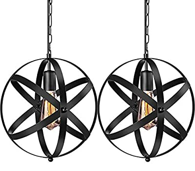 INNOCCY Industrial Pendant Light Black Metal Spherical Ceiling Pendant Light Hanging Cage Pendant Lighting Fixture Vintage Ceiling Pendant Lights for Kitchen Dining Table Bedroom Hallway