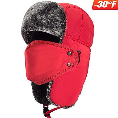 Mysuntown Unisex Winter Trooper Trapper Hat Ushanka Ear Flap Chin Strap and Windproof Mask (Red)