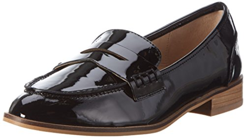Buffalo Damen 216-2153 Patent Slipper Schwarz (Black 01)