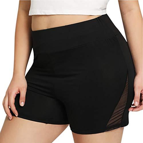 TANGSen Women Perspective Pants Fashion Plus Size Short Sport Pants Casual Yoga Solid Fitness Elastic Pants Black