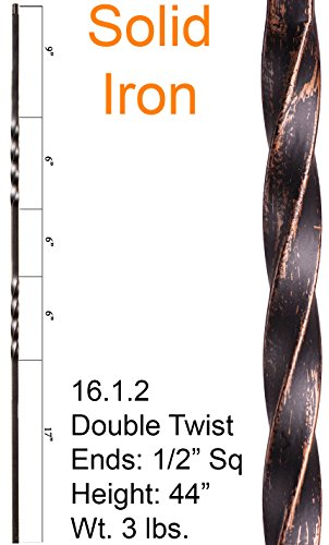 Wrought Iron Baluster - Oil Rubbed Bronze 16.1.2 Double Twist Iron Baluster for Staircase Remodel , Box of 5