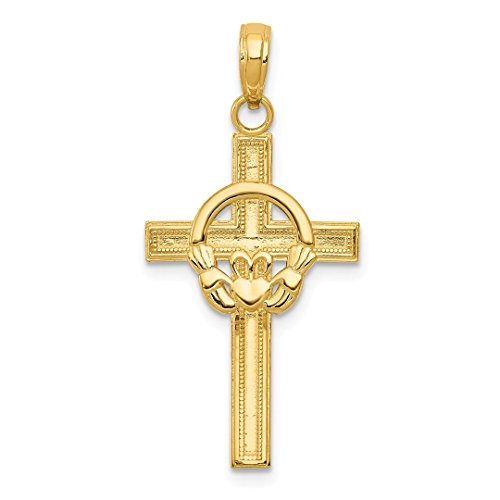 14k Yellow Gold Irish Claddagh Celtic Knot Cross Religious Pendant Charm Necklace Fine Jewelry Gifts For Women For Her