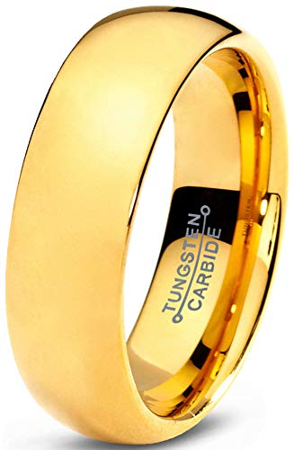 Charming Jewelers Tungsten Wedding Band Ring 7mm Men Women Comfort Fit 18k Yellow Gold Grey Dome Polished