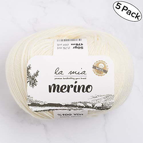 (5 Ball La Mia%100 Merino Wool Total 8.8 Oz. Each 1.76 Oz (50g) / 191 Yrds (175m), Fine, Sport, Premium Softest Natural Yarn, White - L081)