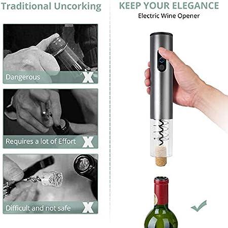 COLFULINE Sacacorchos Abrelatas de vino Electrico Abridor Botellas de Vino con Cortador de Papel Vertedor Tapón de Vino Silicona de Vacío