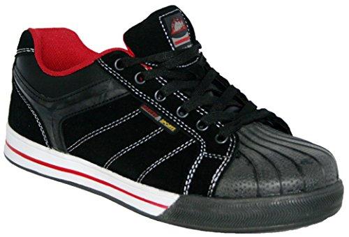 Groundwork GR42 N - zapatos de seguridad de cuero hombre negro/ rojo