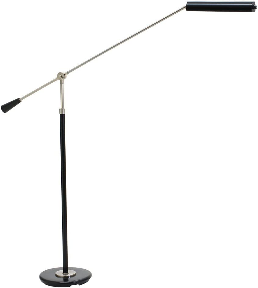 House of Troy PFLED-527 Grand Piano 1LT 4W LED Piano Floor Lamp, Black Finish with Satin Nickel Accents