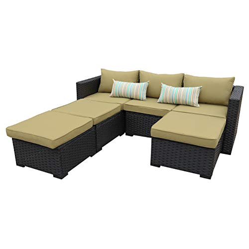 Outdoor Sectional Sofa Set 4-Piece Patio PE Black Wicker Rattan Conversation Furniture with Olive Green Cushion
