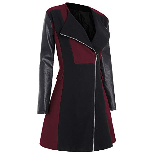 Misaky Overcoat for Women, Winter Warm Woolen Leather Patchwork Long Coat Jacket Outwear