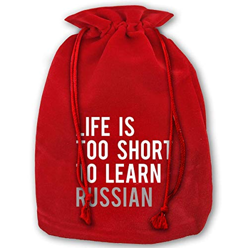 Life is Too Short Too Learn Russian Reusable Xmas Christmas Drawstring Organza Gift Bags Red