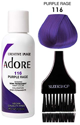 Hair Coloring System - ADORE Creative Image Shining SEMI-PERMANENT Hair Color (STYLIST KIT) No Ammonia, No Peroxide, No Alcohol Haircolor Semi Permanent Dye (116 Purple Rage)