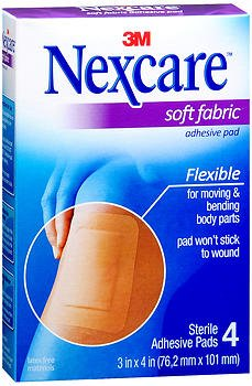 Nexcare Soft Fabric Adhesive Gauze Pad 3 Inches X 4 Inches - 4 ct, Pack of 6
